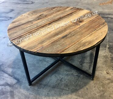 New Rustic Recycled Timber Industrial Metal 2 Tier Coffee Tables