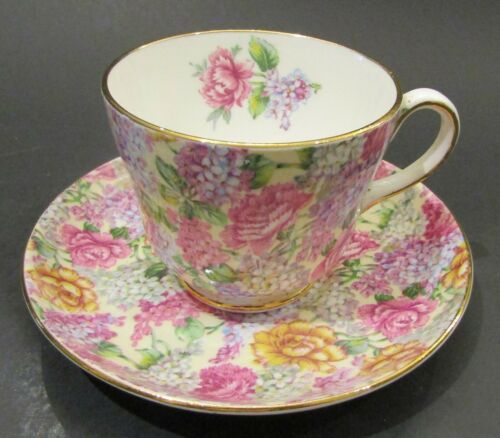 Vintage Hammersley & Co. Chintz Pattern Teacup and Saucer