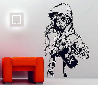affiti Girl Tattoo Decor Vinyl Wall Sticker Decal Rockabilly (Sugar Skull Girl)