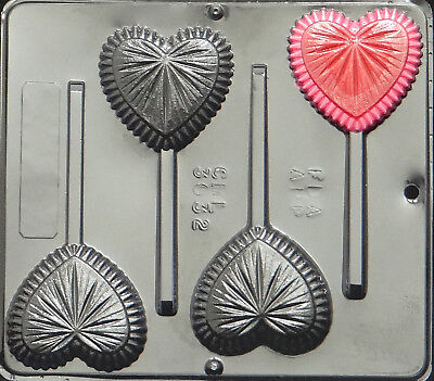 Fancy Heart Lollipop Chocolate Candy Mold Valentine  3032 - Heart Lollipop