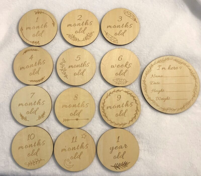 Funny Supply Wooden Monthly Cards Set Of 13 Baby Newborn Photography Props