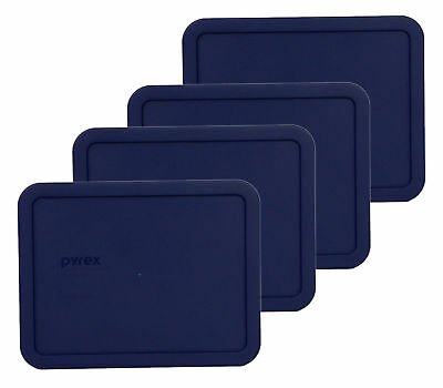 Pyrex 7211-PC Rectangle 6 Cup 1.5L Blue Storage Lid 4 Pack New for Glass Dish 6 Cup Rectangle Storage
