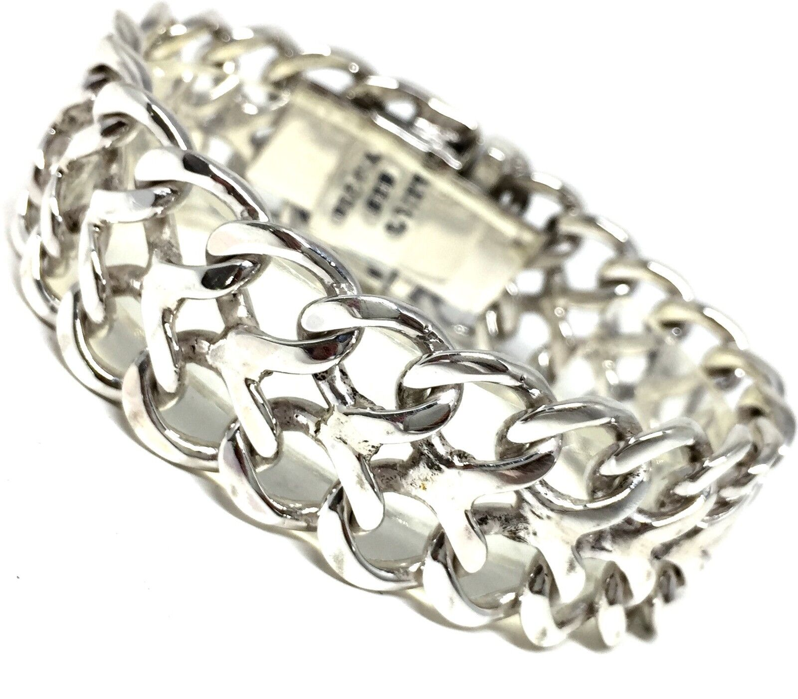 Silver Chain Link Bracelet: TAXCO MEXICAN 925 STERLING SILVER CHAIN LINK BRACELET
