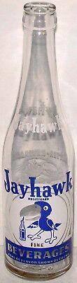 Vintage soda pop bottle JAYHAWK Ottawa Kansas Rock Chalk mascot 12oz Very Rare