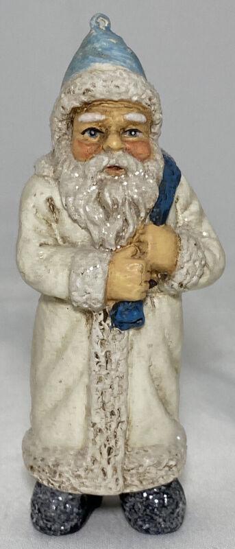 "Belsnickle Santa Claus Ornament Figure Blue White Resin Glitter Vintage 5""H x 2"""