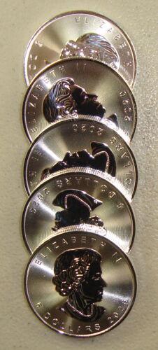 Lot of (5) 2020 1 oz Canadian Silver Maple Leaf Bullion Coins Gem Uncirculated
