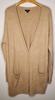 Wool Boyfriend Cardigan (Halogen Boyfriend Cardigan Sweater Long Wool Yak Oversized Stretch Brown)