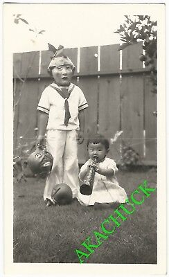 1930s Two Vintage Photos HALLOWEEN SCARY MASKED CHILD & PAPIER MACHE PUMPKINS B](Halloween Papier Mache Masks)