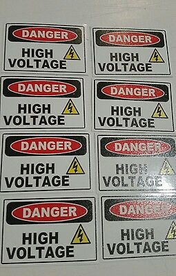 Danger High Voltage Electric Warning Building Sign Sticker Set Of 8 3x2 3