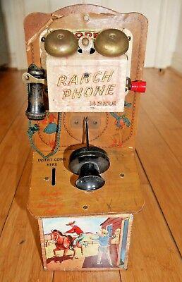 VINTAGE CODEG 1950's TINPLATE RANCH PHONE TOY MONEY BOX RARE COWBOY INDIANS B866