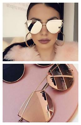 ACEXPRESS Cateye Damen Sonnenbrille Retro Verspiegelt Rosagold Vintage Blogger