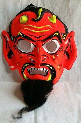 VINTAGE DEVIL HALLOWEEN MASK ☆wool beard☆ EARLY 1970'S BEN COOPER COLLEGEVILLE