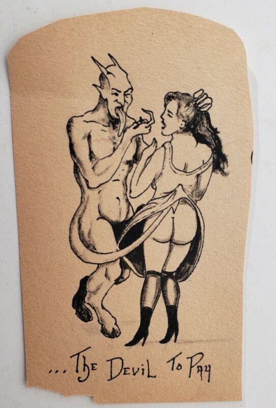 vintage original unknown tattoo flash cut  devil to pay satan lucifer pinup 3x6