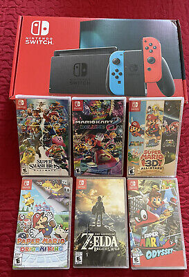 Nintendo Switch 32GB Neon Red/Neon Blue Console With 6 Games! *ALL BRAND NEW*