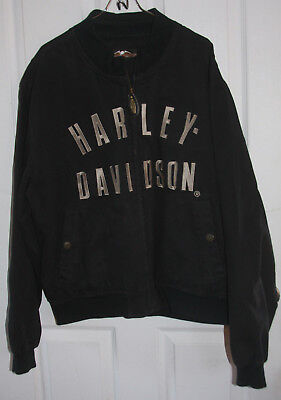 Harley Davidson Jacket Large Black 100% Cotton Embroidered
