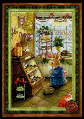 Christmas SUSAN WHEELER Bunny Rabbits Bakery Cupcakes Pastry  - Greeting Card