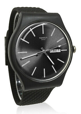 Swatch SUOM708 Bricagris Grey Day Date Analog Dial Silicone Band Watch New
