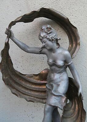 Antique Spelter Bronze French Nouveau Lady Dance Figurine Newel Post Vintage Sgn - $1,579.00