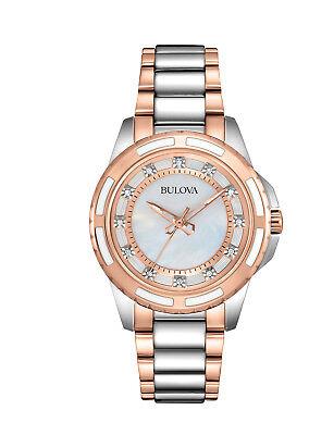 Bulova Women's 98P134 Quartz Diamond Accented Two-Tone Bracelet 28mm Watch