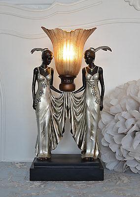 Tischleuchte Vintage Lampe Art Deco Frauenfigur Tischlampe Fächerschirm Antik