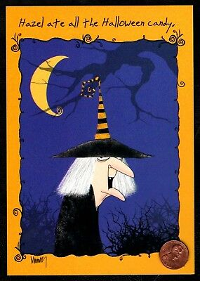 Halloween LESLIE MURRAY Hazel Witch Moon  HUMOROUS - Halloween Greeting Card NEW](Animated Halloween Greetings)