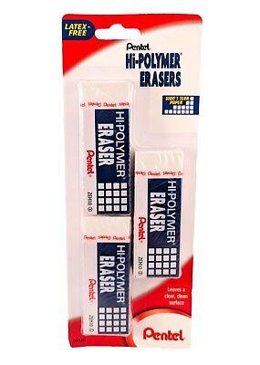 Pentel Hi-polymer Eraser - 3 Block Erasers Zeh10bp3-k6 - Ships Free 2 Save 10