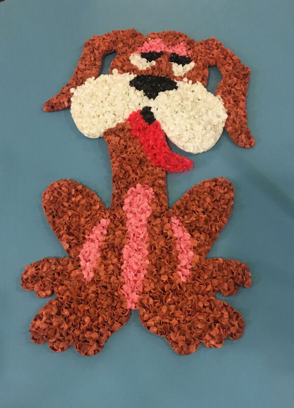 Vintage Valentines Day Hound Dog Puppy Love!! Melted Plastic Popcorn Decoration