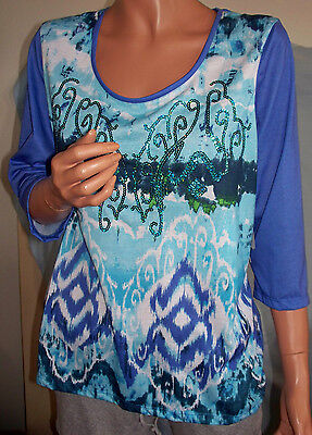 Ret$32 MEDIUM T/O Thomas & Olivia T-Shirt Pullover Blue Purple Sequin TUNIC TOP