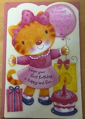 Happy First Birthday One Year Old 1 Girl American Greetings Card Sparkly - One Year Old Birthday