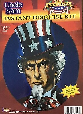 Uncle Sam Disguise Kit Hat Beard Patriotic Independence Day July 4th