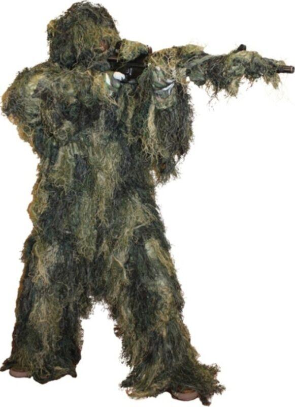 Ghillie Suit Woodland Camo Paintball 5 Piece Fire Retardant M/L use as Costume