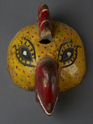 Vintage Wood Festival Mask Hand Carved/Painted Guatemalan Folk Art Tribal Decor