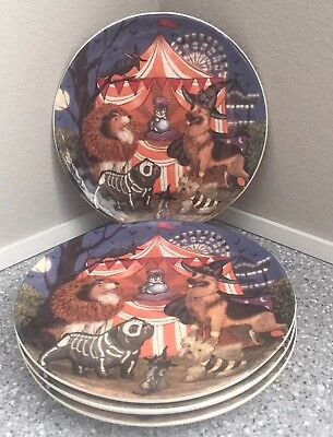 SET of 4 ~ Pier 1 PARK AVENUE PUPPIES HALLOWEEN Salad Plates Dogs in Costume NEW