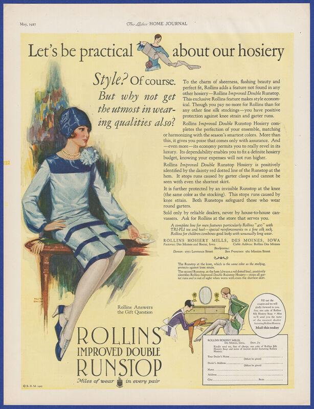 Vintage 1927 ROLLINS Runstop Stockings Hosiery Lingerie Fashion Print Ad 1920