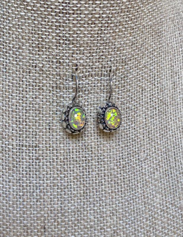 Beautiful Vintage Artisan/Designer Ornate Sterling Silver & Opal Earrings