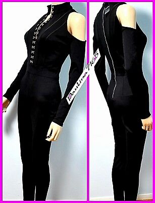 BEBE Black Hook-eye Cold Shoulder Mockneck Catsuit Jumpsuit, XS (NWT$159) 3002