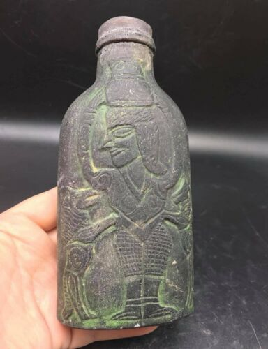 Very Antique Old Bactrain Civiliztion Old King & Naked Men Craved Glass Bottle