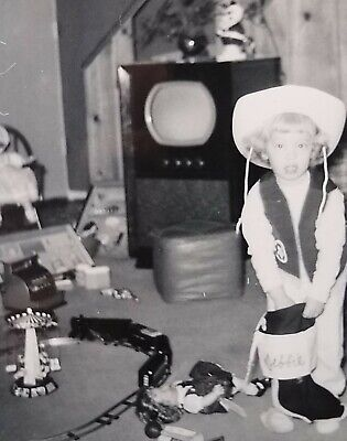 Photo 1950's Christmas Gifts Cowgirl Debbie with Dolls, Train Set & More