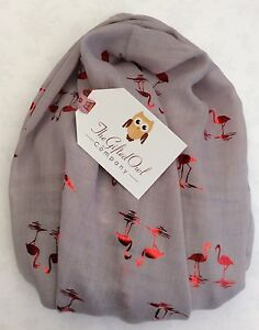 SUNSET FLAMINGO GREY BIRD ANIMAL SCARF FOIL WRAP NEW FRIEND SISTER MUM GIFT