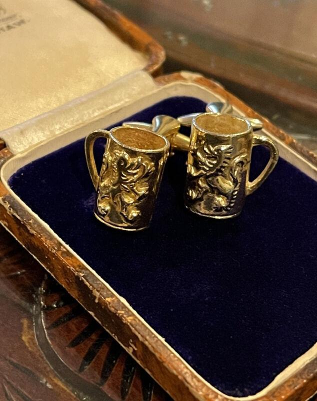 Vintage English Stratton London Beer Mug Gilt Cuff Links Heraldic Medieval Lions