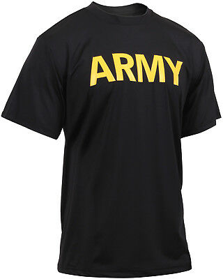 - Black Performance Moisture Wicking US ARMY PT Training Workout APFU T-Shirt