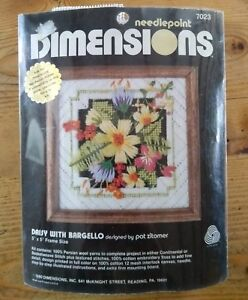 VINTAGE 1980 DIMENSIONS 7023 Needlepoint. Daisy with Bargello. BN