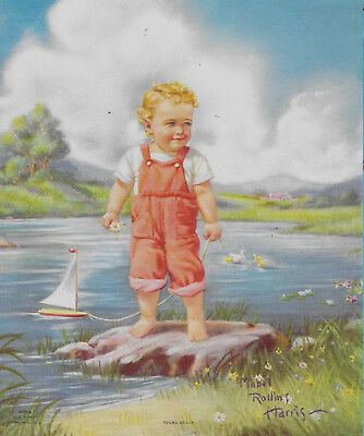 Mabel Rollins Harris, Child, Sailboatl Duck Salesman Sample Calendar Print 1940s