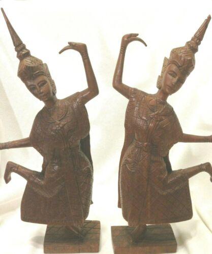 "Pair Thai Siamese Dancers/Temple/Statue/Figurines/15""/Teak Wood Hand Carved/RARE"