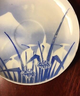 Antique JAPANESE CRANES Pair Set PORCELAIN PLATES 19thC Mount Fuji MARKED