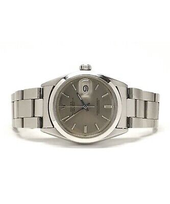 Vintage Mens Rolex 1970s Datejust in Stainless Steel Watch with Gray Dial 36mm
