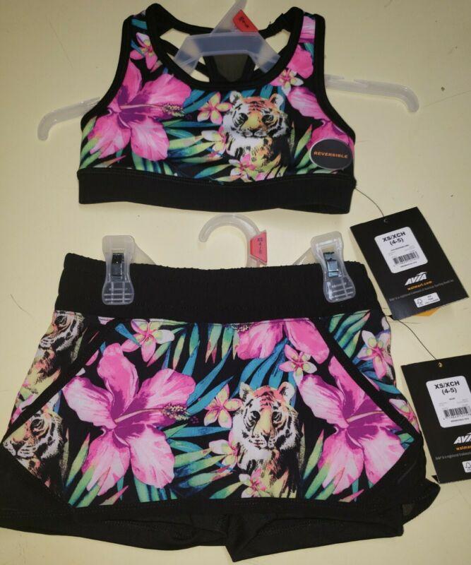 Girls Avia Tropical Reversible Active Sports Bra & Matching Skort Set Xsmall 4/5