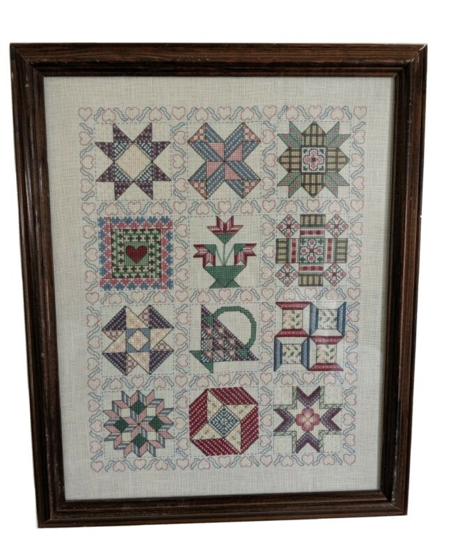 "Framed Completed Cross Stitch 12 Quilt Patterns Sampler 12.5""x 15.5"""