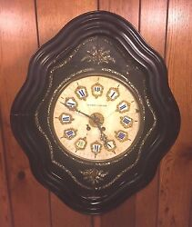 Antique French Boulle Wall Clock Black Enamel Case with Stone Face Runs?