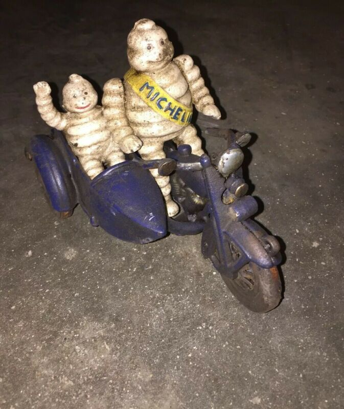 Michelin Tire Men Motorcycle Cast Iron Patina Finish Toy Set Lot Antique Style V